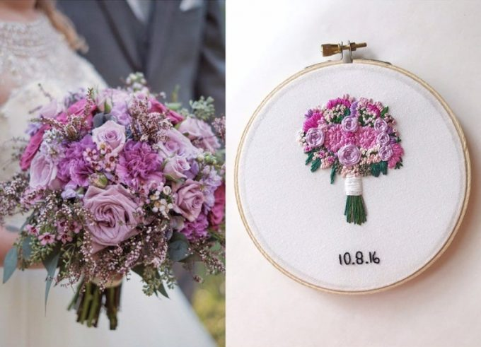 how to preserve wedding flowers in hoop art