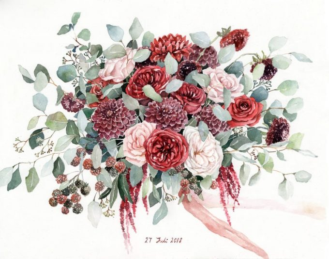 turn your wedding bouquet into a painting