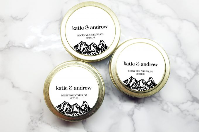 wedding candle favor tins