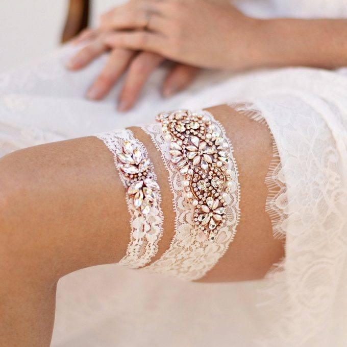 art deco inspired lace wedding garters
