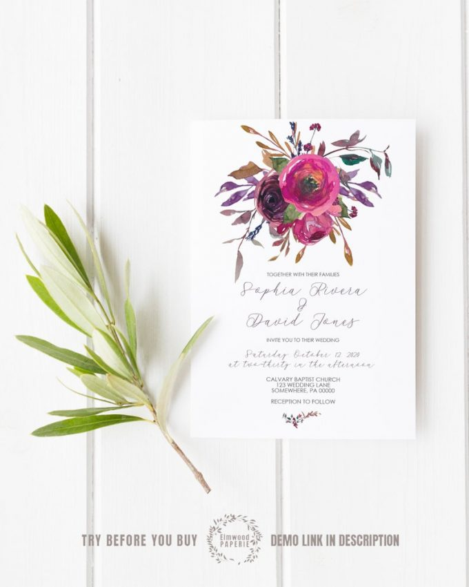fall wedding invitation templates