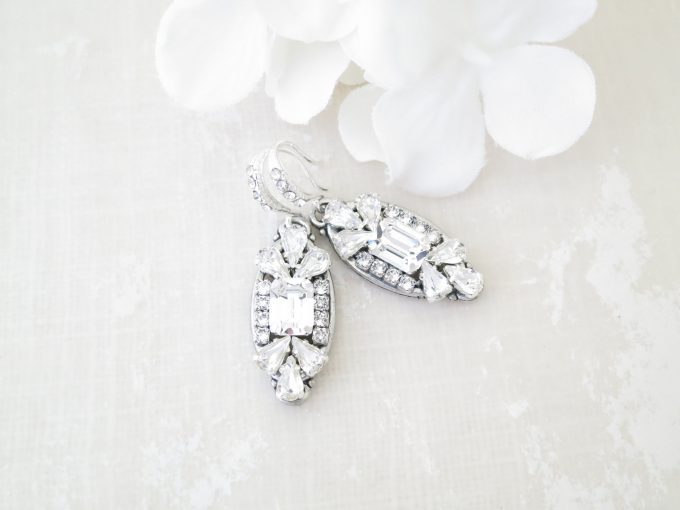 art deco earrings in silver