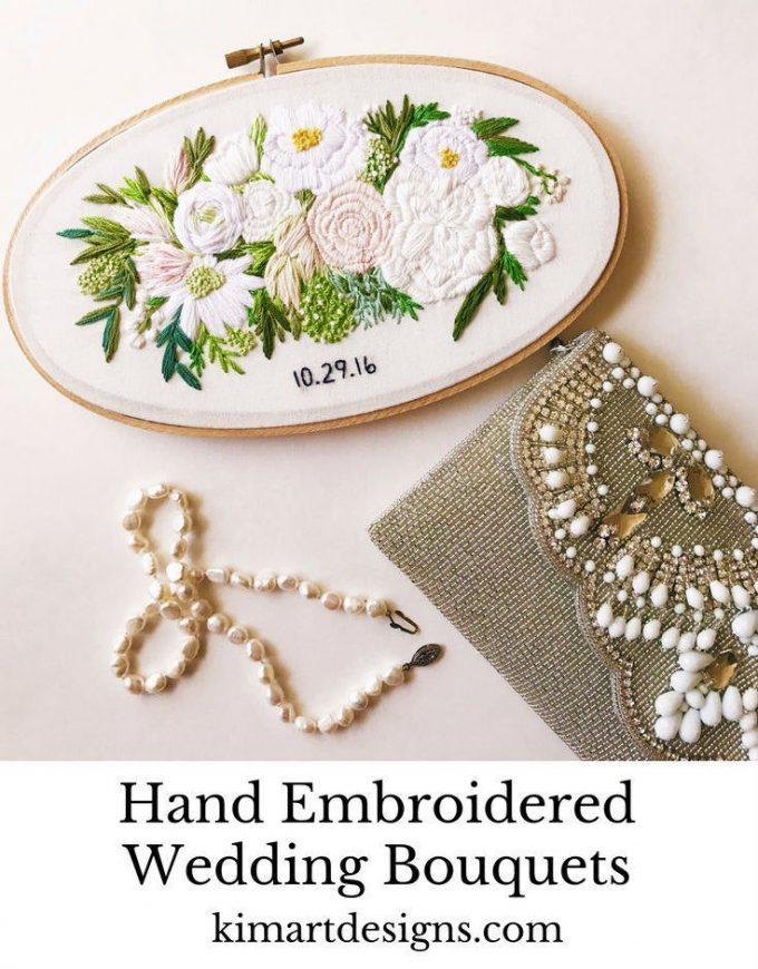 embroidered hoop art made from your wedding bouquet