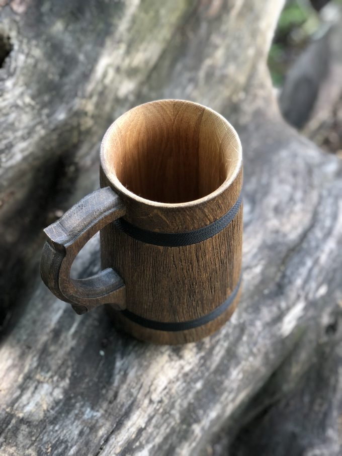 wooden beer tankard