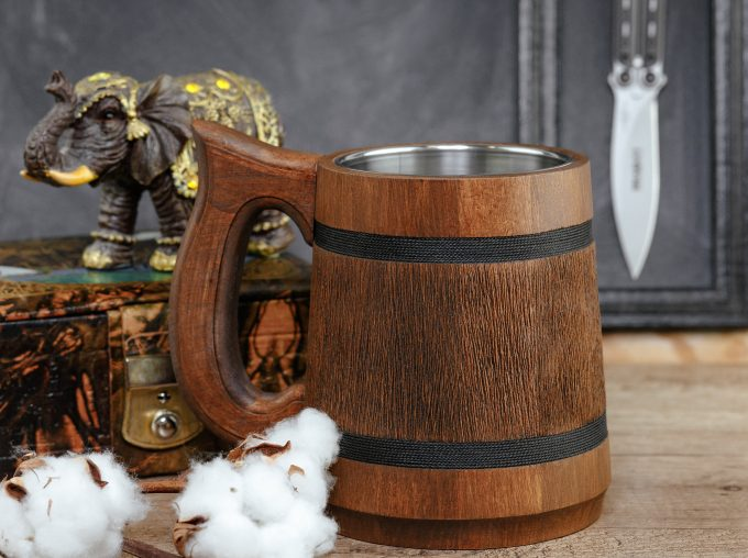 wooden beer steins and mugs for groomsmen