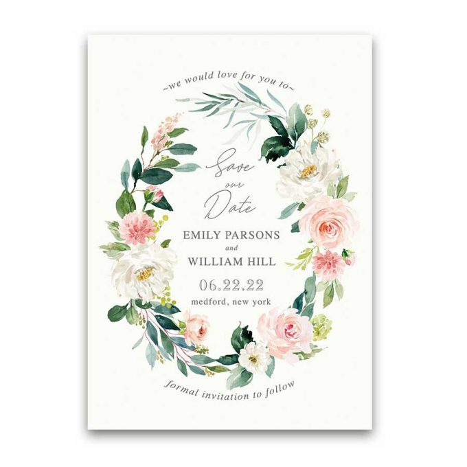 save the date wording - blush floral card