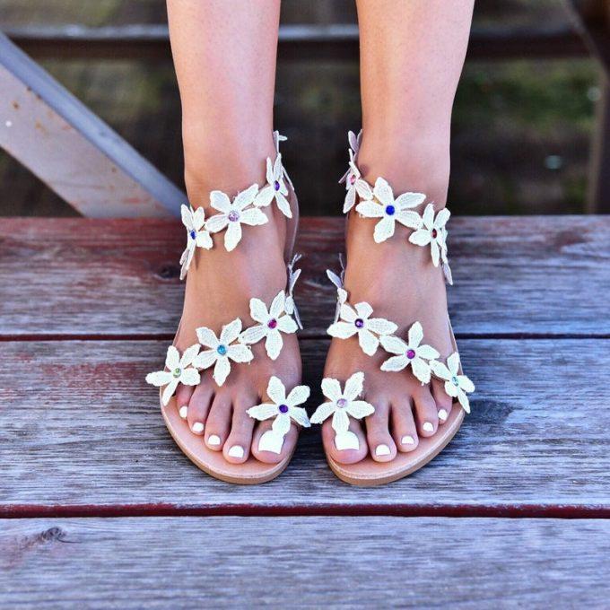 flower bouquet wedding sandals