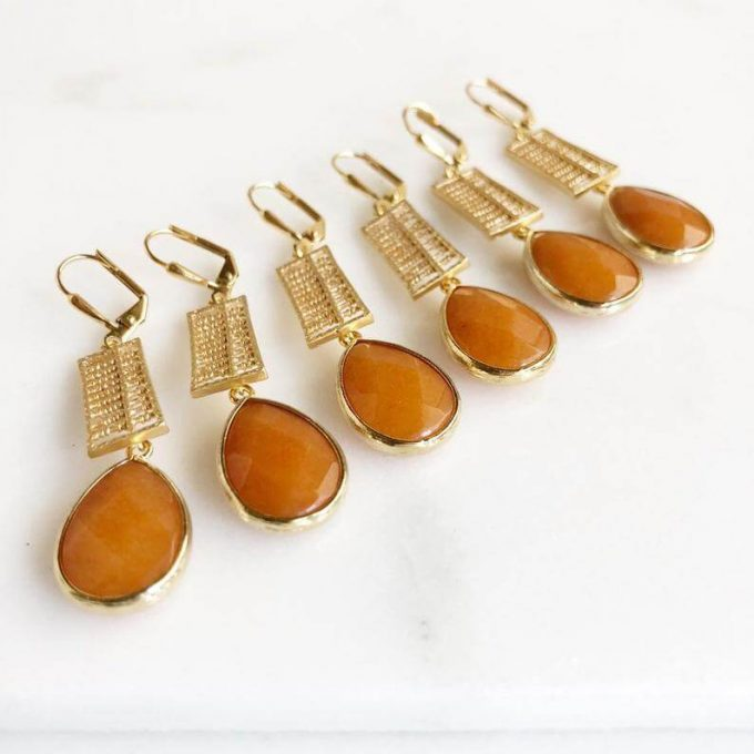 bridal party earrings in burnt orange for fall weddings