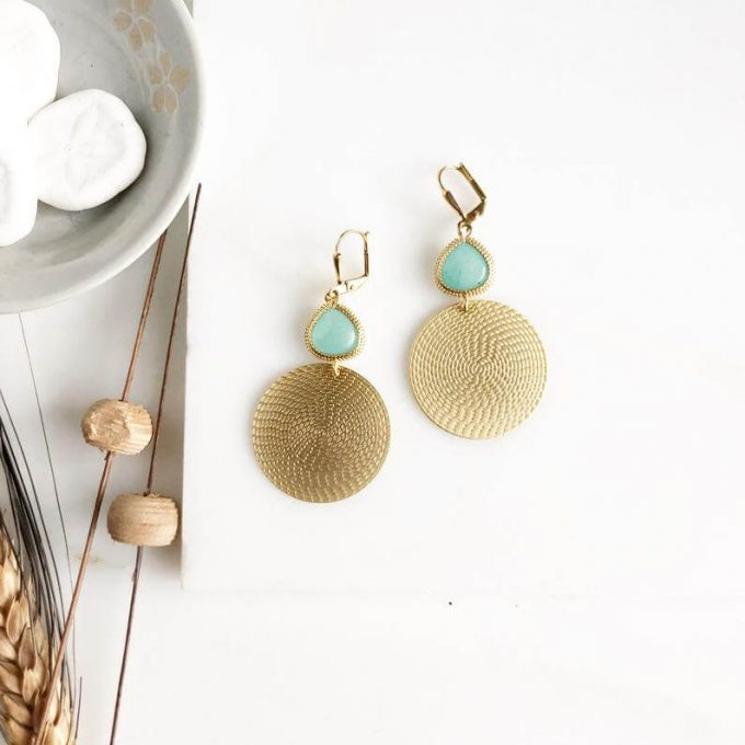 gold circle aqua wedding party earrings