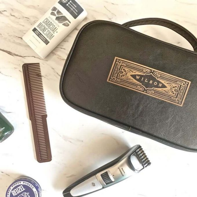 green leather dopp kit