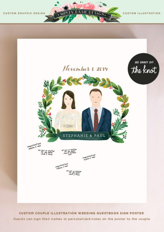 wedding illustration guest book poster