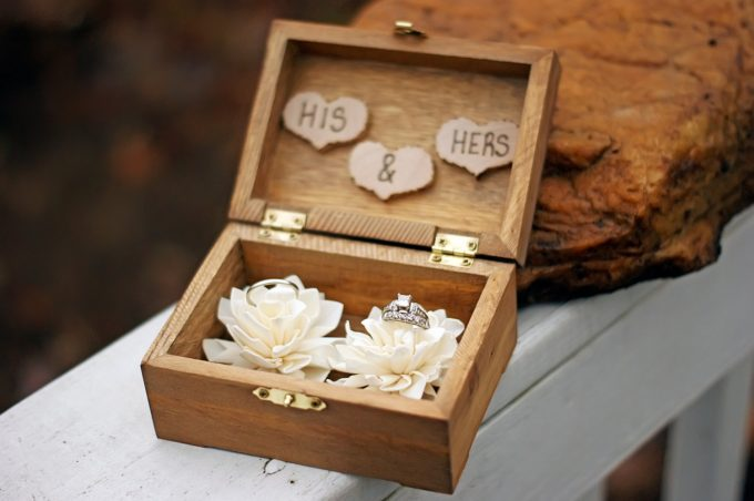 rustic wood ring box for weddings