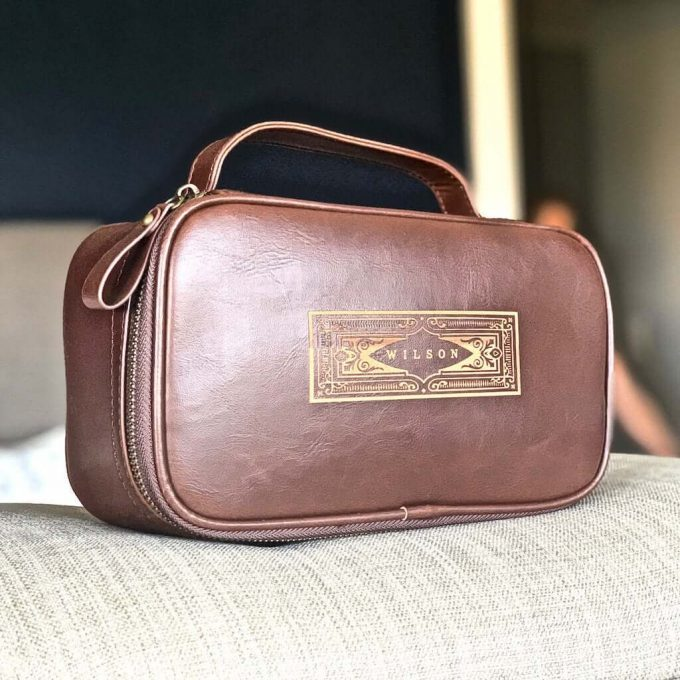 personalized leather dopp kit mens