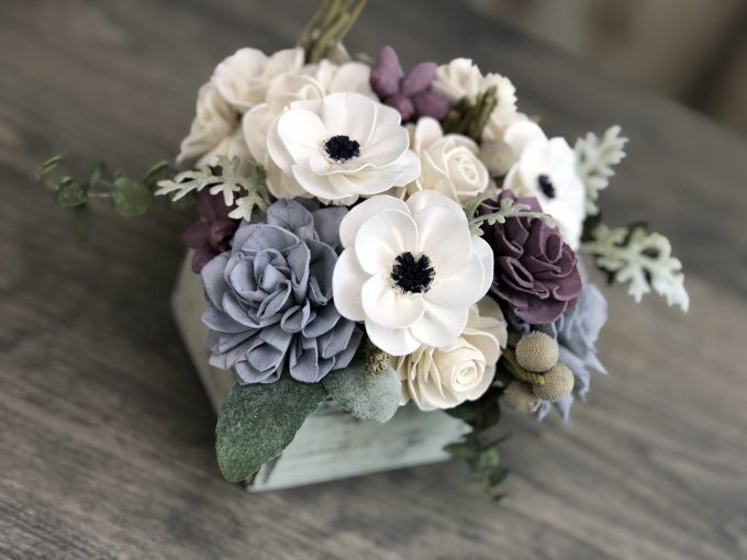 rustic sola flower centerpieces made by Pine and Petal Weddings