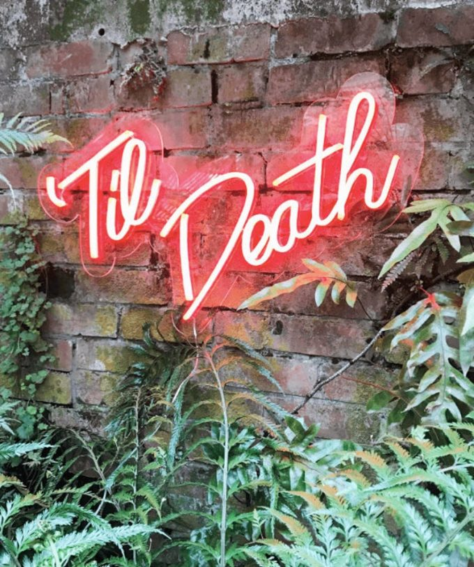 til death neon wedding sign