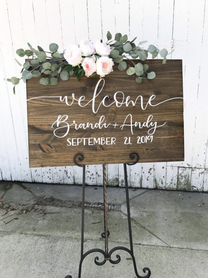 wedding welcome signs with names and date on wood
