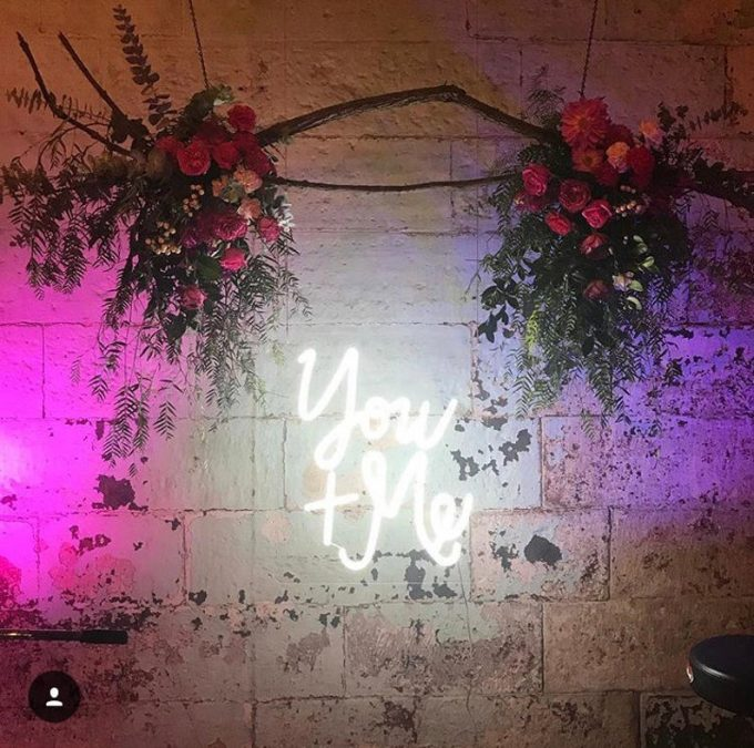 you and me neon wedding sign