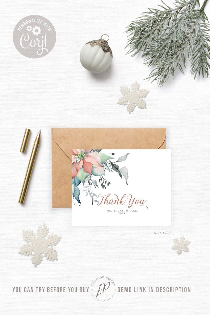 Christmas wedding thank you cards