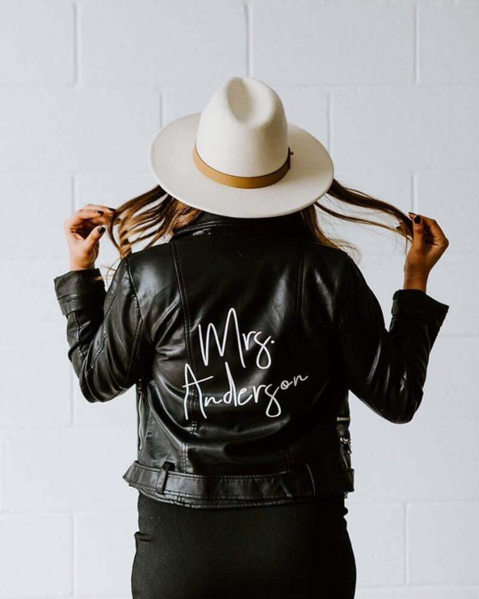 personalized mrs leather jacket