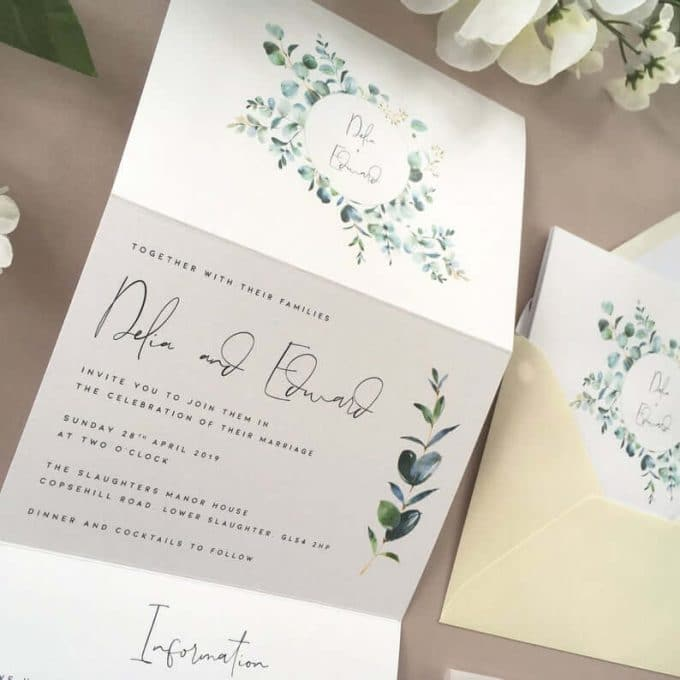 eucalyptus wedding invitations by elle bee design uk