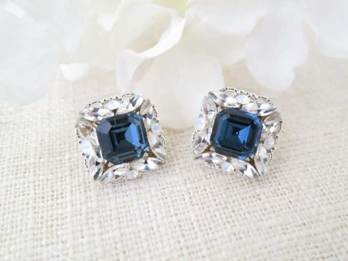 navy blue cluster earrings