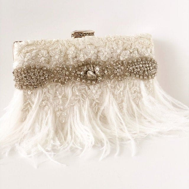 feather wedding purse
