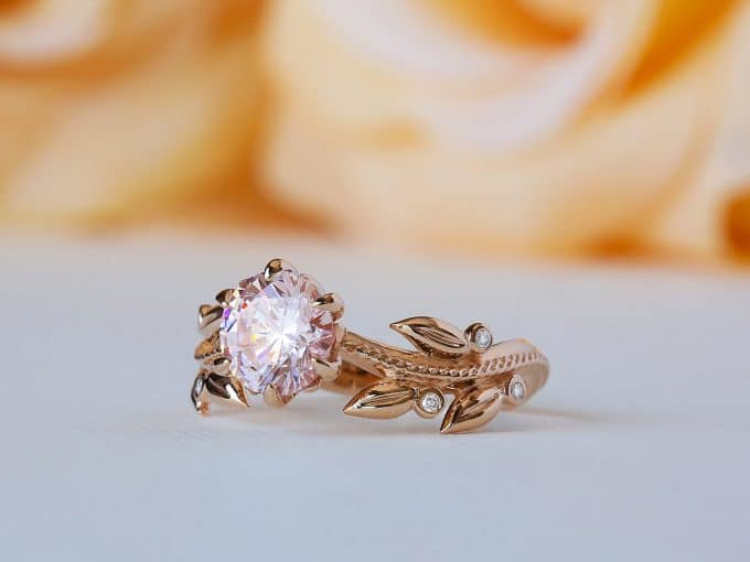 floral engagement ring with morganite stone