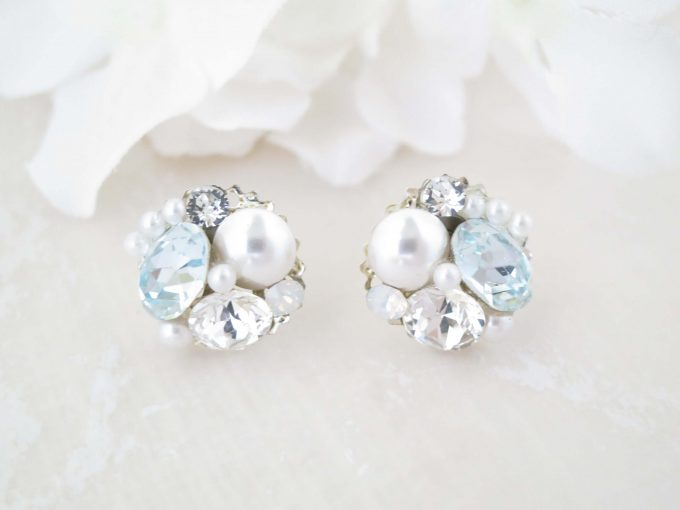 something blue crystal cluster earrings