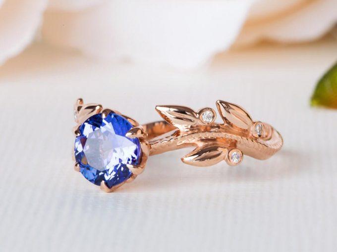 floral engagement ring with tanzanite gemstone