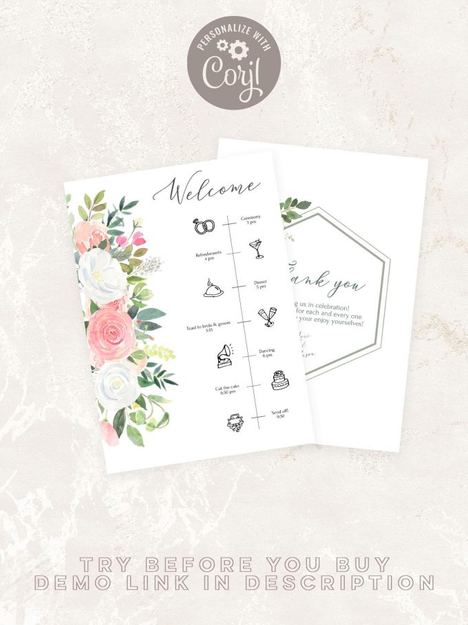 wedding timeline printable