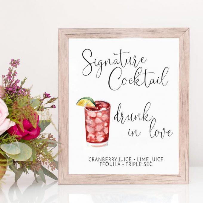 signature cocktails sign