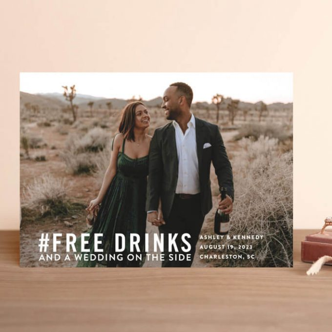casual save the date ideas - free drinks with a wedding on the side