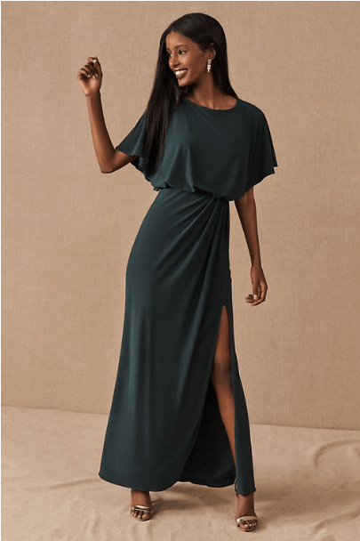 winter wedding guest dress with flutter sleeves