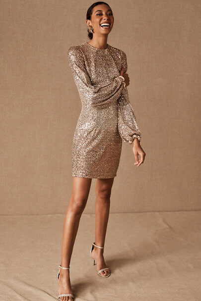 winter wedding guest dress with sequins and long sleeves