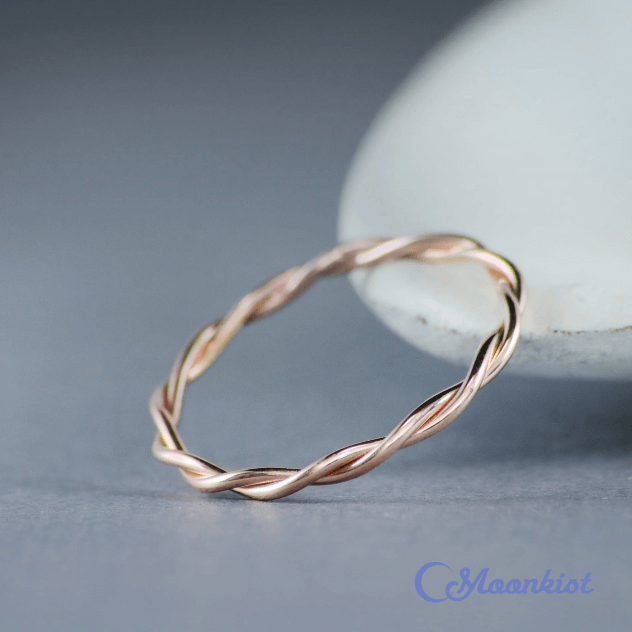 14k rose gold twist wedding band