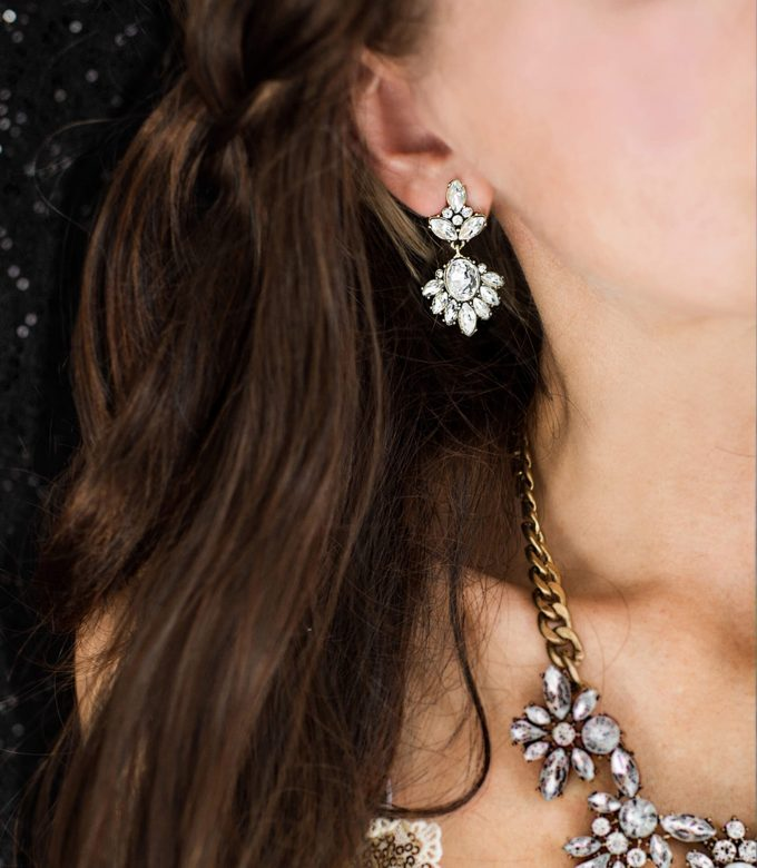vintage style crystal drop earrings