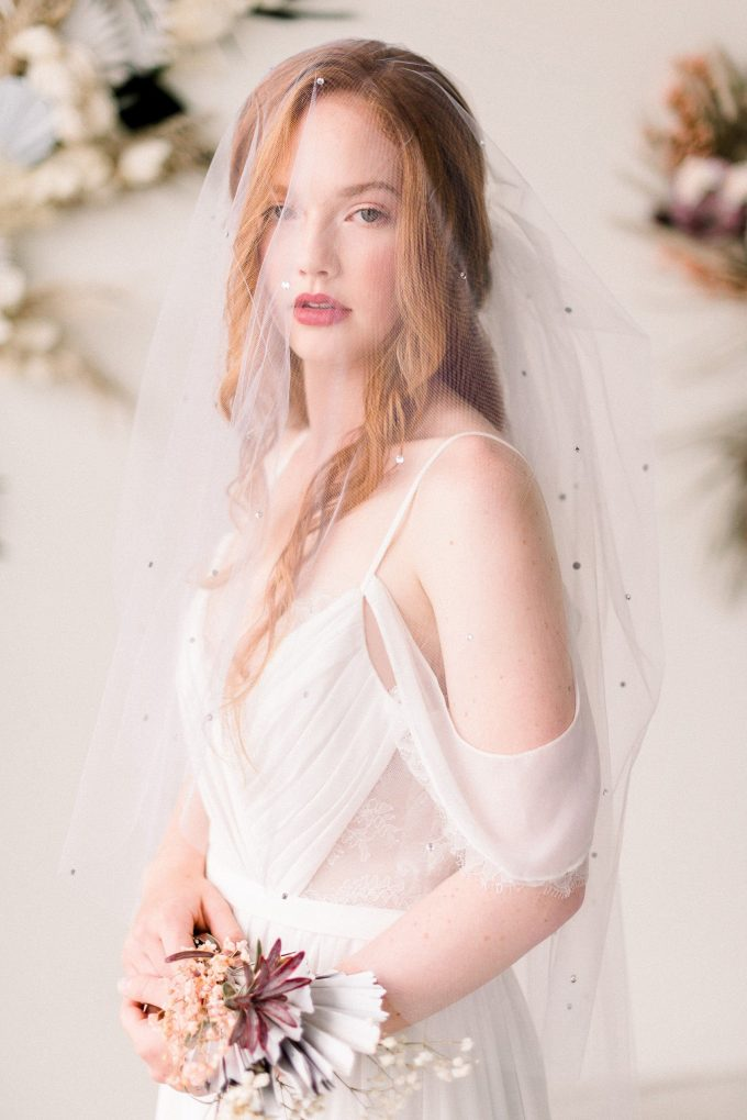Blusher Illusion Tulle Veil with Crystals