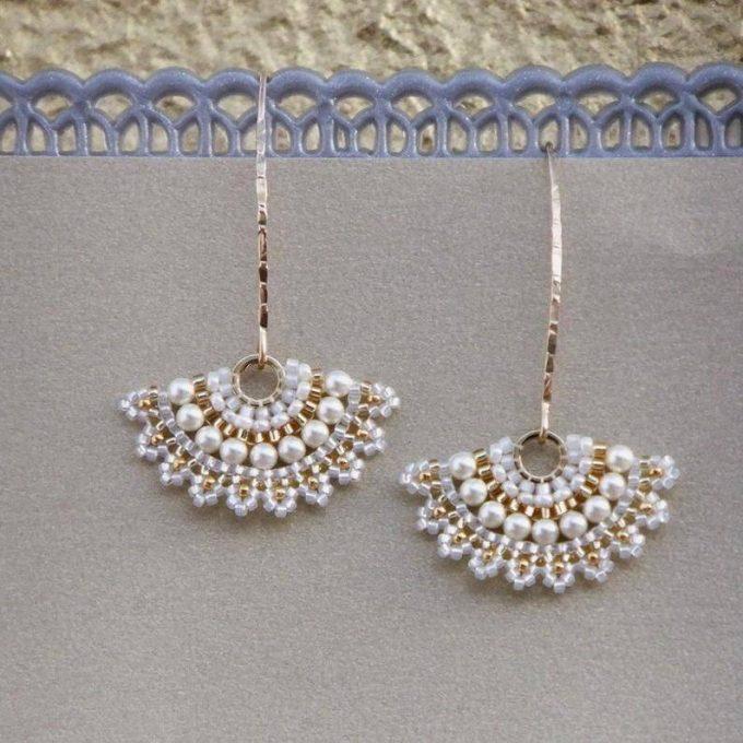 bridal fan earrings