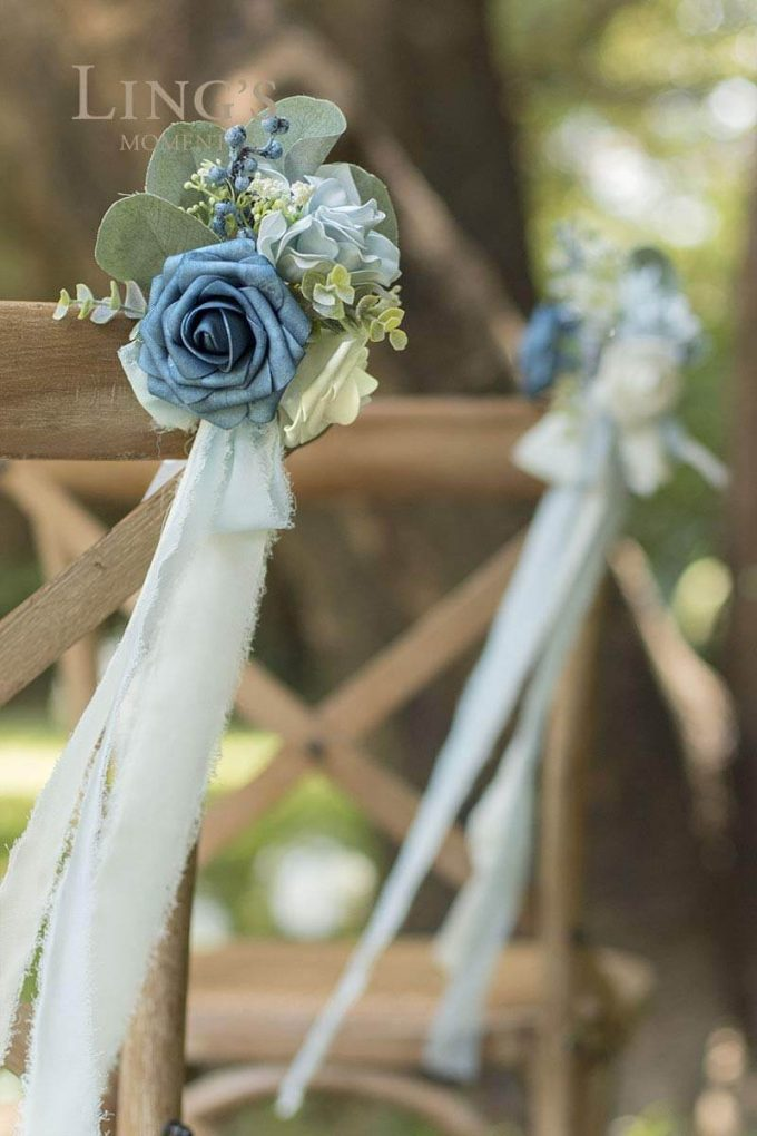 dusty blue flower aisle decorations