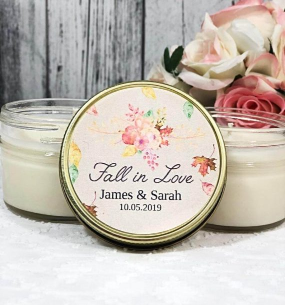 fall in love bridal shower candle favors