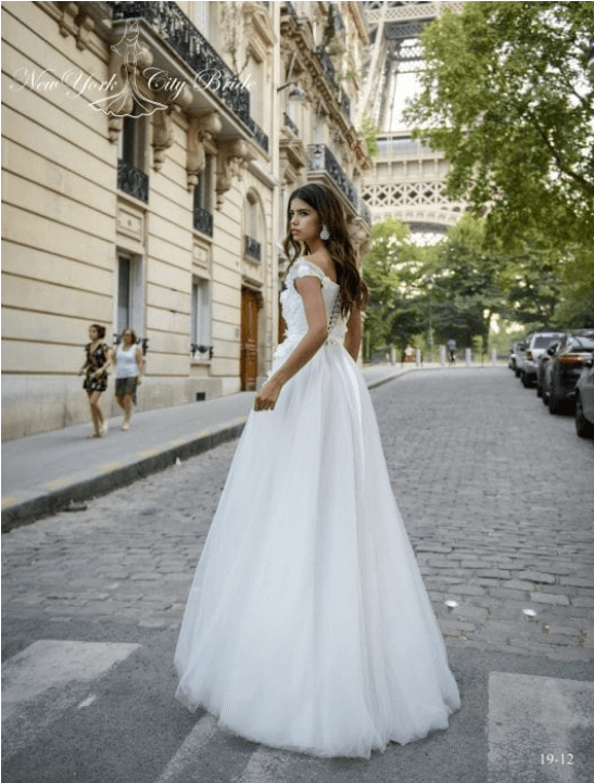 off the shoulder wedding dress a line
