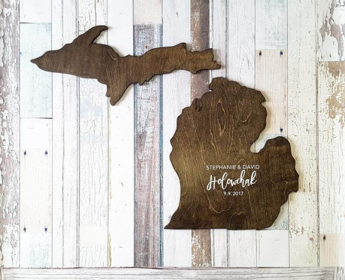 michigan state shaped guest book alternative