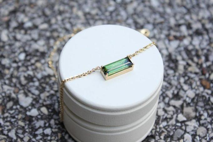 green tourmaline minimalist necklace