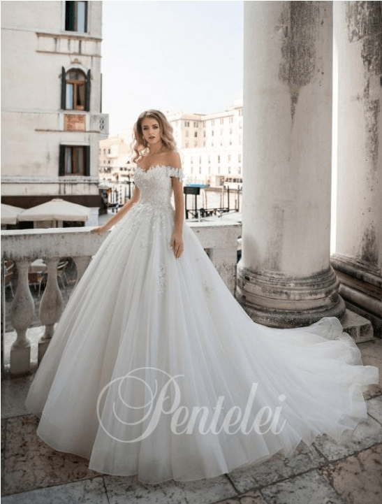 off-the-shoulder wedding dress with train