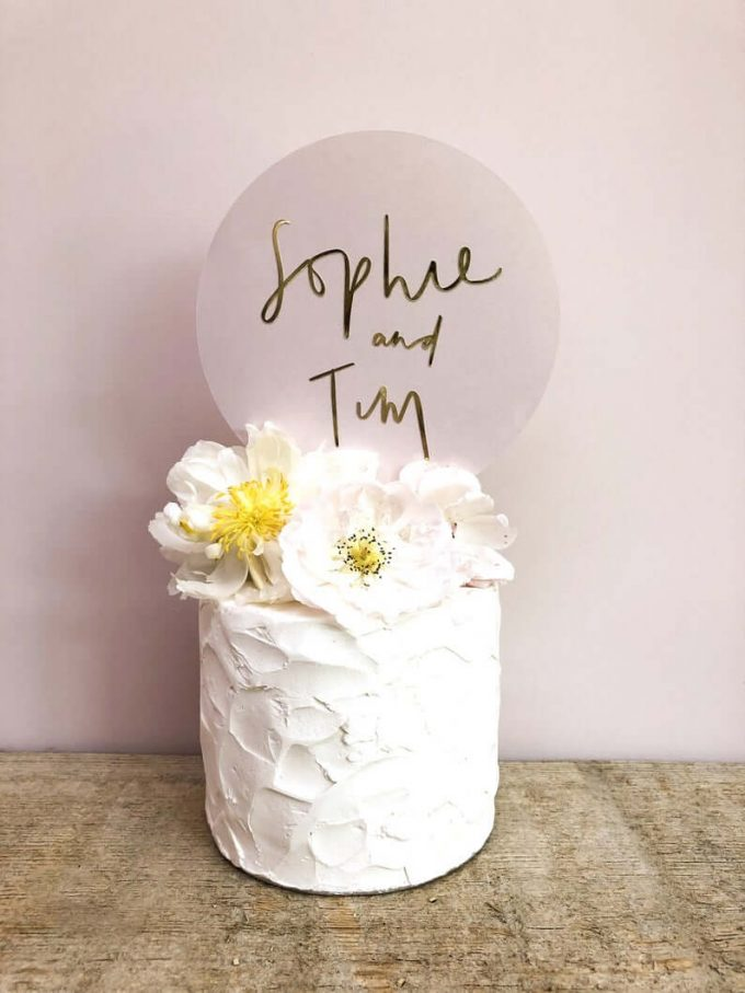 minimalist wedding cake toppers