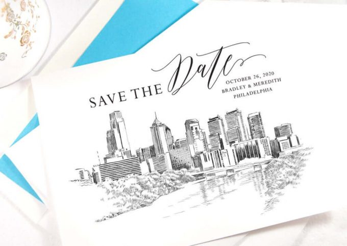 philadelphia wedding save the date cards