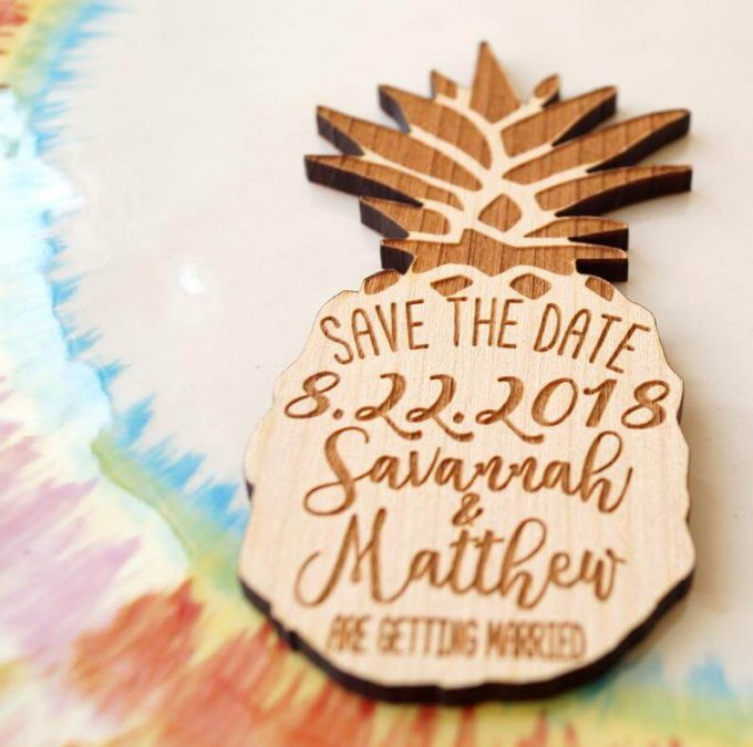 pineapple save the date magnets