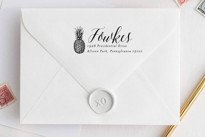 pineapple save the date return address stamp
