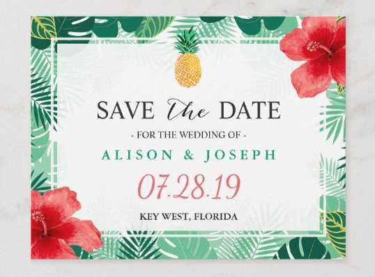 pineapple save the date cards