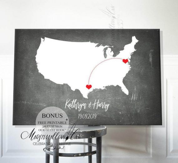 map guest book poster